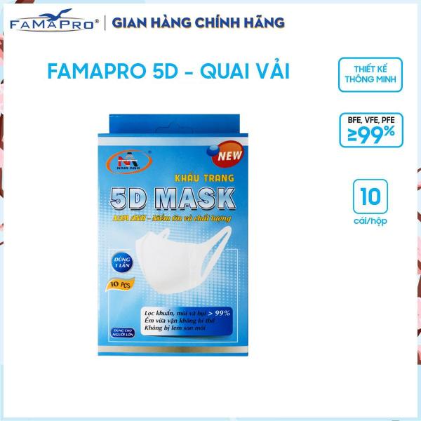 Combo 2 hộp khẩu trang y tế kháng khuẩn 3 lớp Famapro 5D Mask dây vải dạng hộp (10 cái / Hộp)