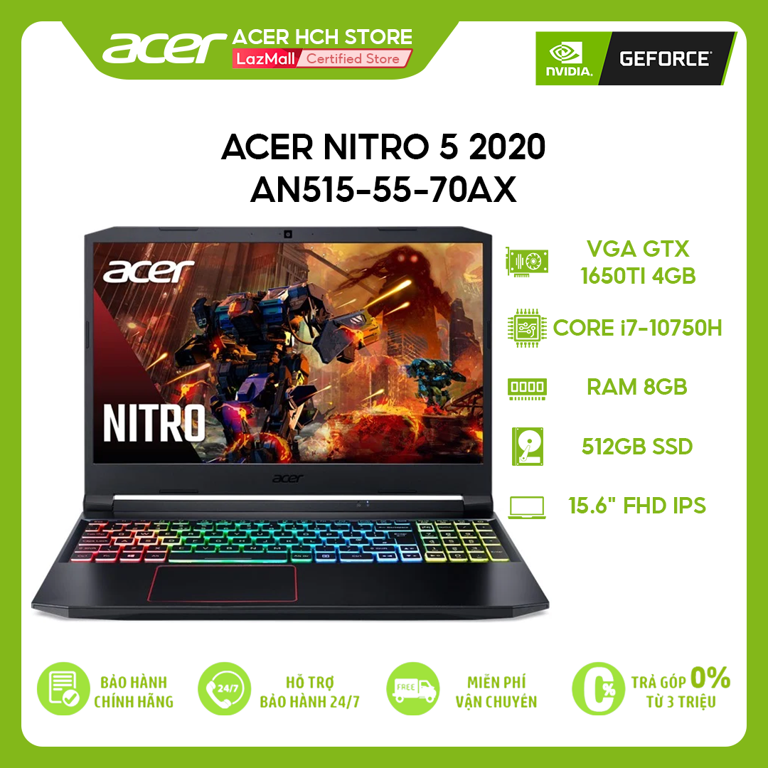 """[VOUCHER 10% từ 27-29.03] Laptop Gaming Acer Nitro 5 2020 AN515-55-70AX i7-10750H   8GB   512GB   VGA GTX 1650Ti 4GB   15.6"""" FHD   Win 10"""