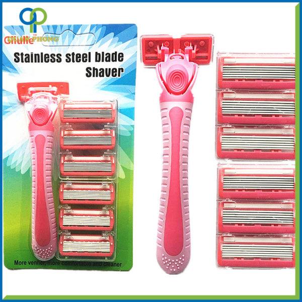 Bộ dao cạo râu Giiulle kèm 6 lưỡi thay thế màu xanh hồng cao cấp