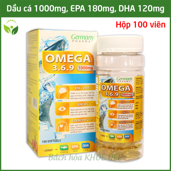 Viên dầu cá Omega 3 6 9 Germany Pharma Bổ não, sáng mắt, khỏe mạnh tim mạch, tăng cường trí nhớ cho người từ 7 tuổi - Hộp 100 viên thành phần dầu cá 1000mg, EPA 180mg, DHA 120mg giá rẻ