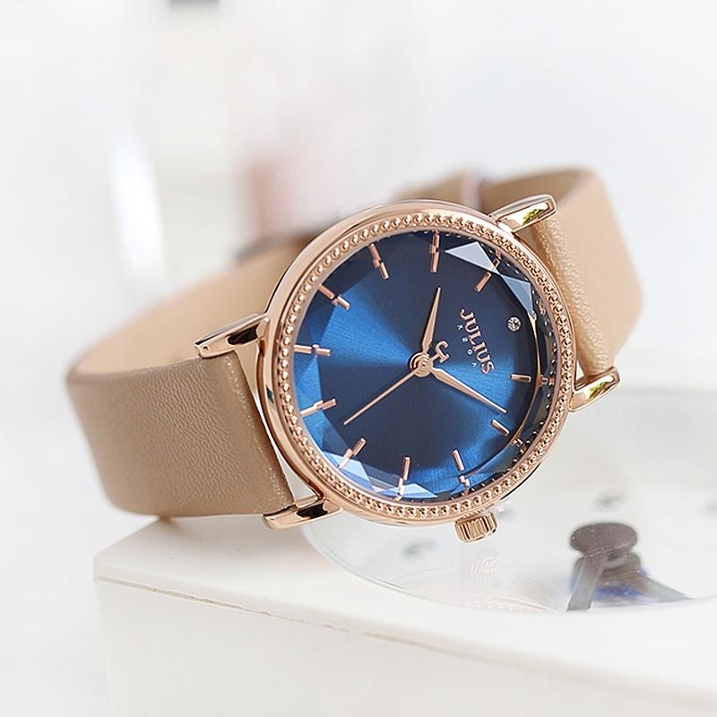 Đồng hồ nữ Julius Hàn Quốc JA-1012D dây da màu kem