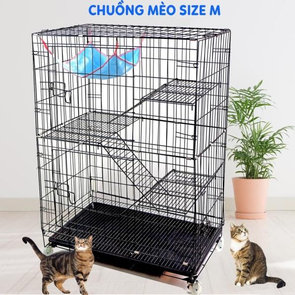 Chuồng mèo 3 tầng to đẹp giá rẻ bằng sắt Size M+ Lồng mèo cao 112cm thép sơn tĩnh điện kèm võng, khay nhựa