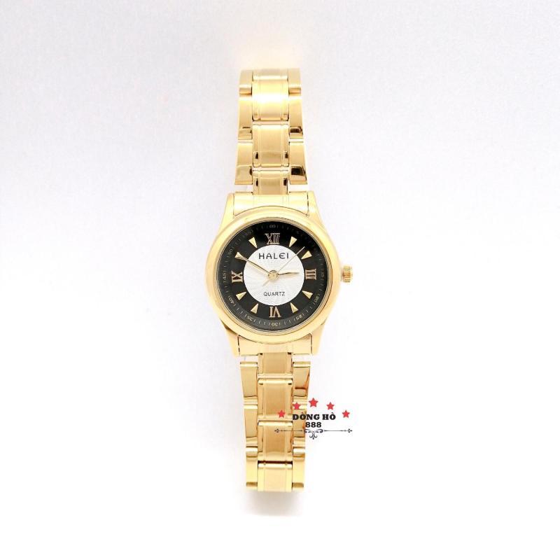 Đồng hồ nữ HALEI dây kim loại thời thượng ( HL489 dây vàng mặt đen ) - TẶNG 1 vòng tỳ hưu phong thuỷ