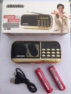 Loa Nghe Nhạc, nghe pháp Usb Thẻ Nhớ Fm Craven CR836s kèm 2 pin thumbnail
