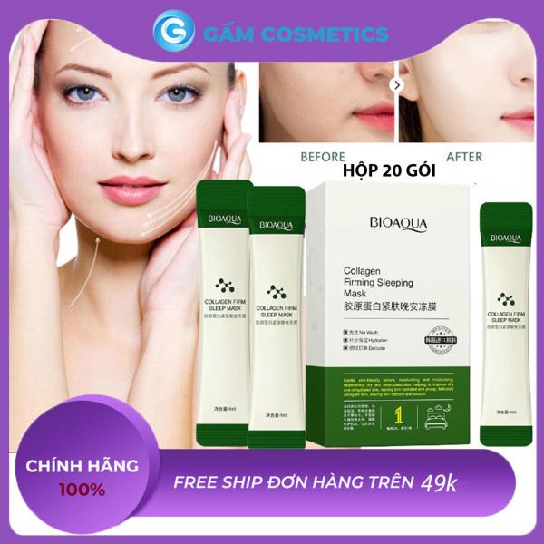 [Hộp 20 Gói] Mặt nạ ngủ thạch Bioaqua Collagen Firming Sleeping Mask nâng cơ mặt dưỡng da săn chắc mỹ phẩm nội địa Trung chính hãng - Gấm Cosmetics