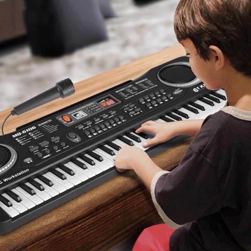 Đàn piano điện tử 61 phím có micro vừa đàn vừa hát cho bé, đàn organ điện tử, đàn piano, đàn piano có bộ sạc pin tiện lợi, đàn piano cho bé phát triển năng khiếu âm nhạc