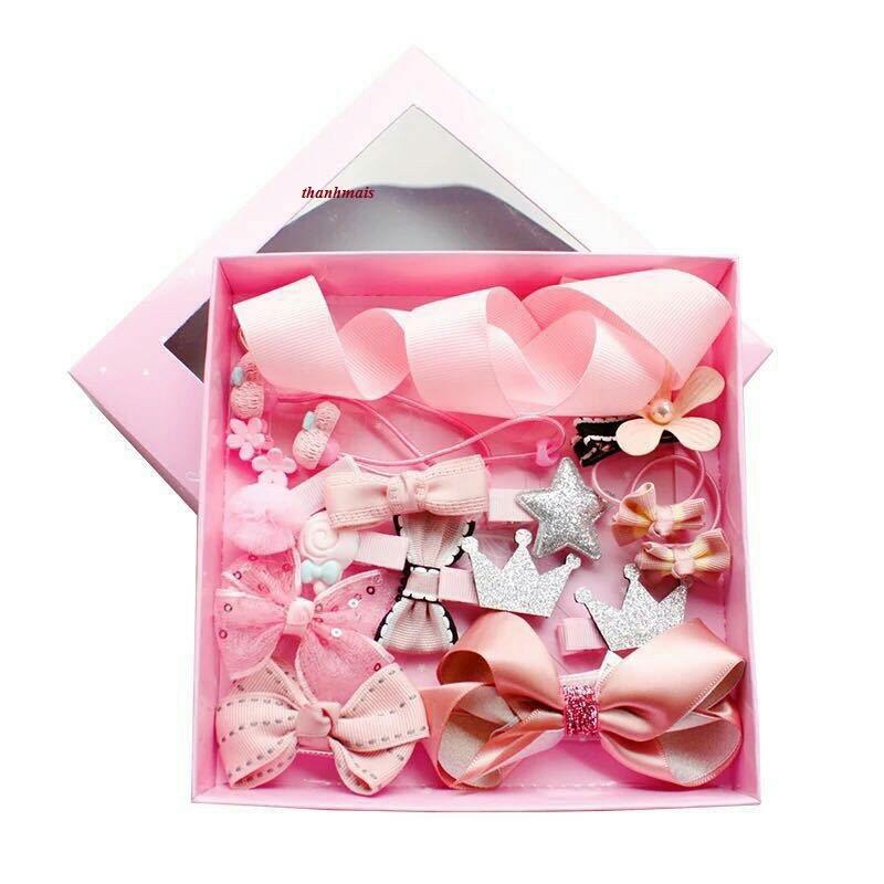 Bộ kẹp tóc,cài tóc dây buộc tóc cho bé 18 món kèm hộp màu hồng