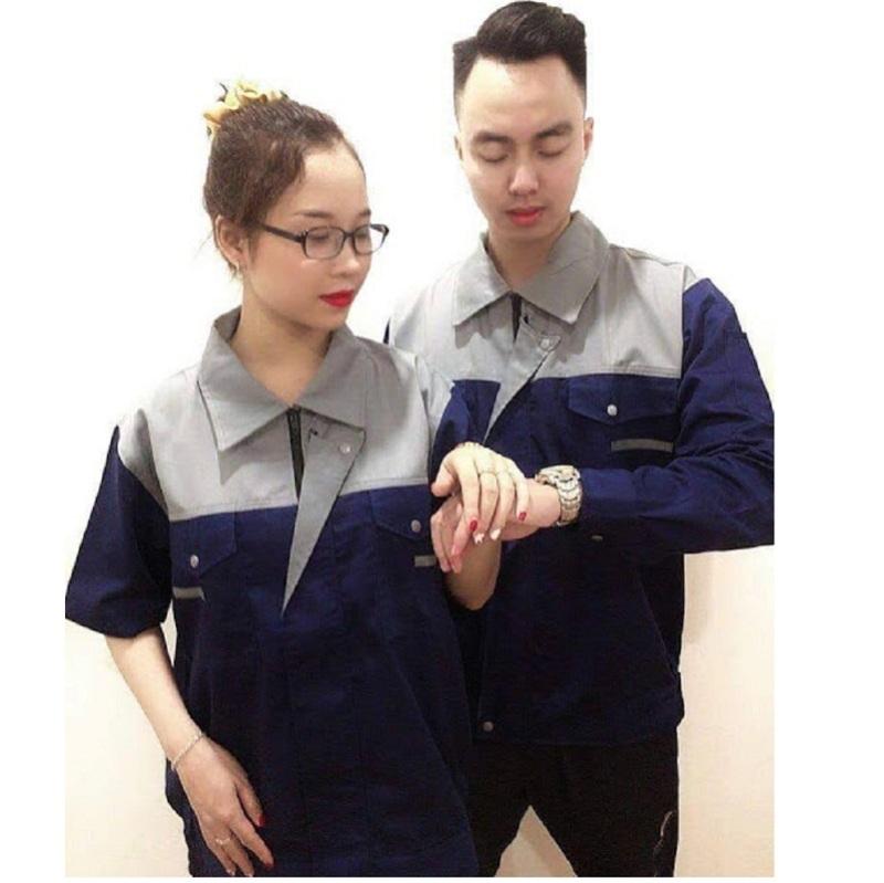 Bộ quần áo bảo hộ lao động nam nữ màu than phối xám khóa kéo – SHUNI012B, quần áo bảo hộ cao cấp, quần áo bảo hộ lao động vải kaki liên doanh loại dày, đồng phục kỹ sư,công ty, xây dựng, nông nghiệp,bảo hộ lao động SHUNI