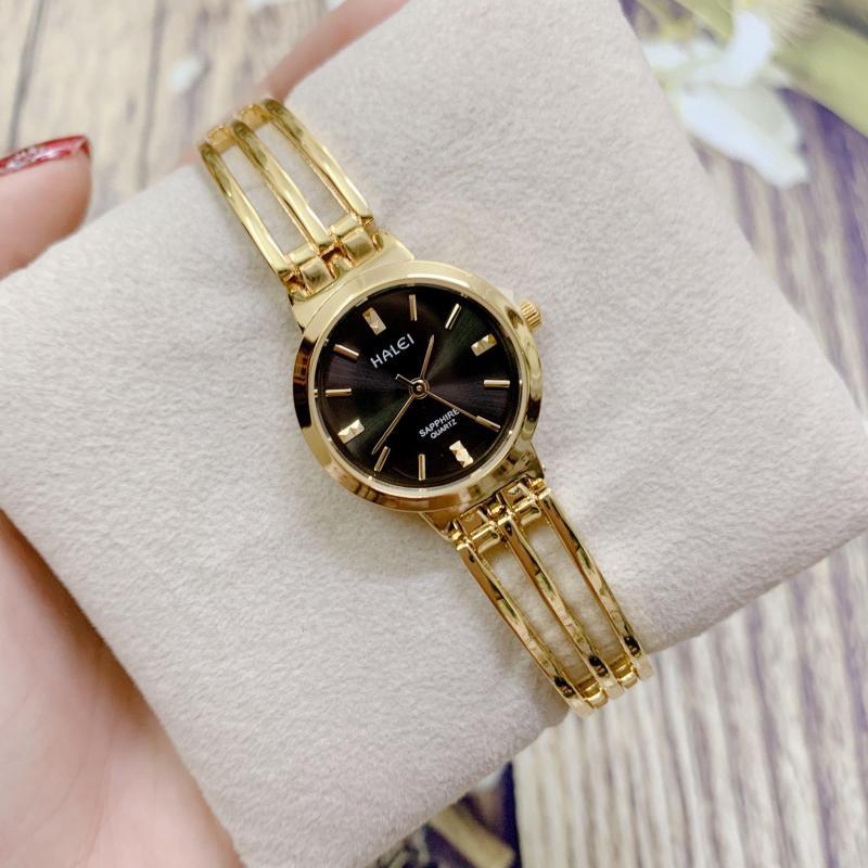Đồng hồ nữ HALEI 5010 dây lắc thời trang (HL5010 Dây vàng mặt vàng) Kích thước mặt 25mm Vỏ thép không gỉ Kính cứng