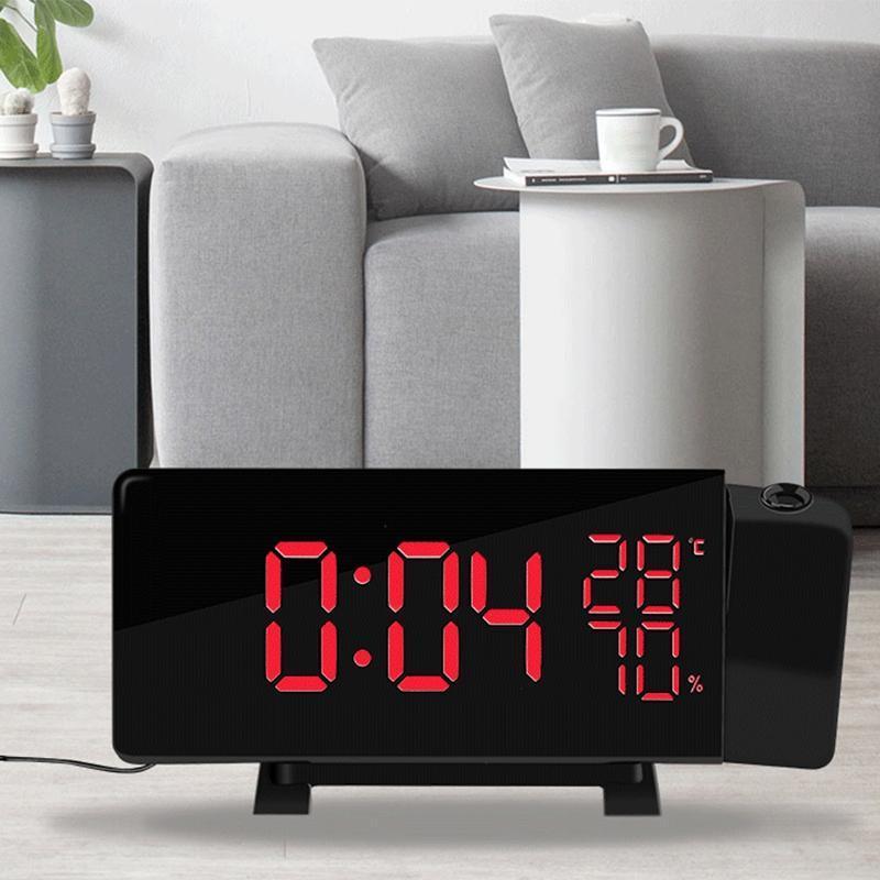 Bảng giá Rotating Projection Digital LED Clock Temperature/Hygrometer Clock FM Radio Electronic Clock Desktop Curved Screen Alarm Clock Phong Vũ