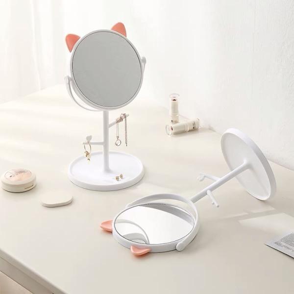 Gương trang điểm để bàn tai mèo bằng nhựa xoay 360 độ đáng yêu kèm móc treo phụ kiện nữ trang 2 màu trắng hồng Mimoquatangphukien giá rẻ