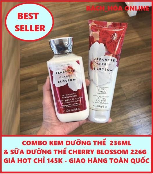 COMBO Kem dưỡng thể và sữa dưỡng thể nước hoa Japanese Cherry Blossom Body Lotion 236ml và 226g cao cấp