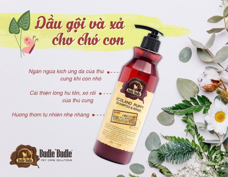 Dầu gội cho chó con kết hợp dầu xả Budle Budle Ecoland Puppy Shampoo and Rinse 500g