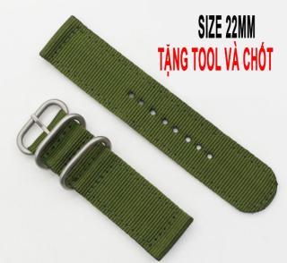 Dây đồng hồ vải dù SIZE 22mm Media Watch W882(Xanh lá) + tặng hộp và chốt dây thumbnail