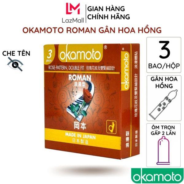 Bao cao su Roman Gân Gai Hoa Hồng 3cái/hộp Double Fit Rose chống tuột siêu mỏng kéo dài thời gian cao cấp