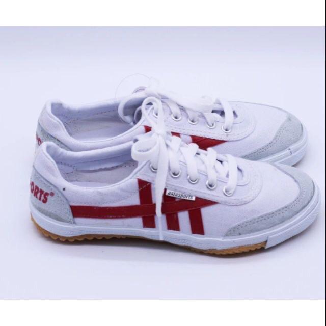 Giày bata asia nam nữ trắng sọc đỏ xanh và đen trắng