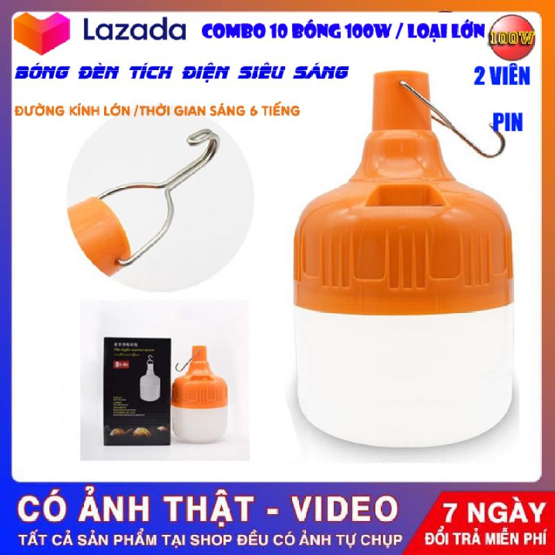 [ Bảo Hành 6 tháng ] Combo 10 Bóng đèn Led tích điện 100w 2 Pin siêu sáng sạc điện có móc treo tiện lợi , 3 chế độ sáng