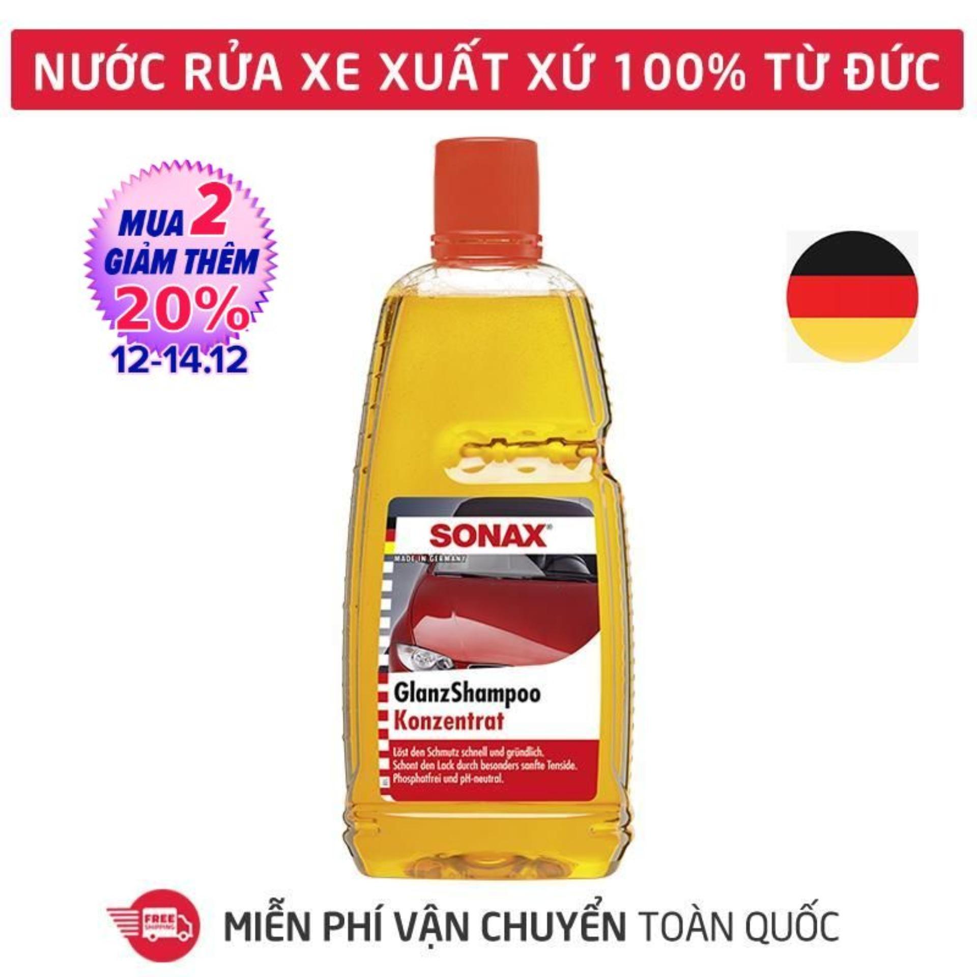 Giá Cực Sốc Khi Mua Dung Dịch Rửa Xe,Nước Rửa Xe đậm đặc,chai Dung Dịch Rửa Và Làm Bóng Xe Hơi, ôtô, Xe Máy, Honda, Moto, Xe Tải, Xe Khách Tạo Bọt Tuyết Hương Thơm Sonax Gloss Shampoo 1000ml_SN-314300