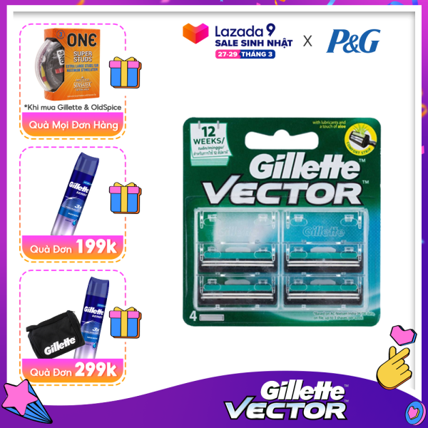[27-29.03 Tặng ONE và Gel Cạo Râu 195g đơn 199k] Lưỡi dao cạo râu Gillette Vector ( 4 lưỡi/vỉ ) [Tặng voucher GOTIT 100K khi review] giá rẻ