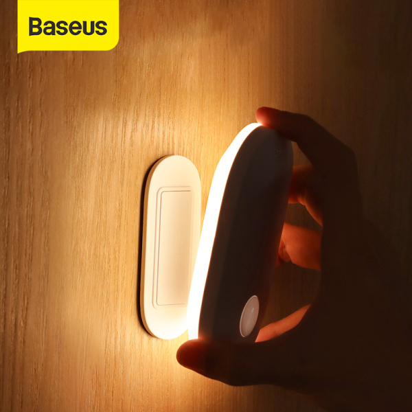 Baseus LED Motion Sensor Night Light Magnetic USB Rechargeable Body Induction Lamp Wall Light Automatic Wall Lamp for Cabinet Stairs
