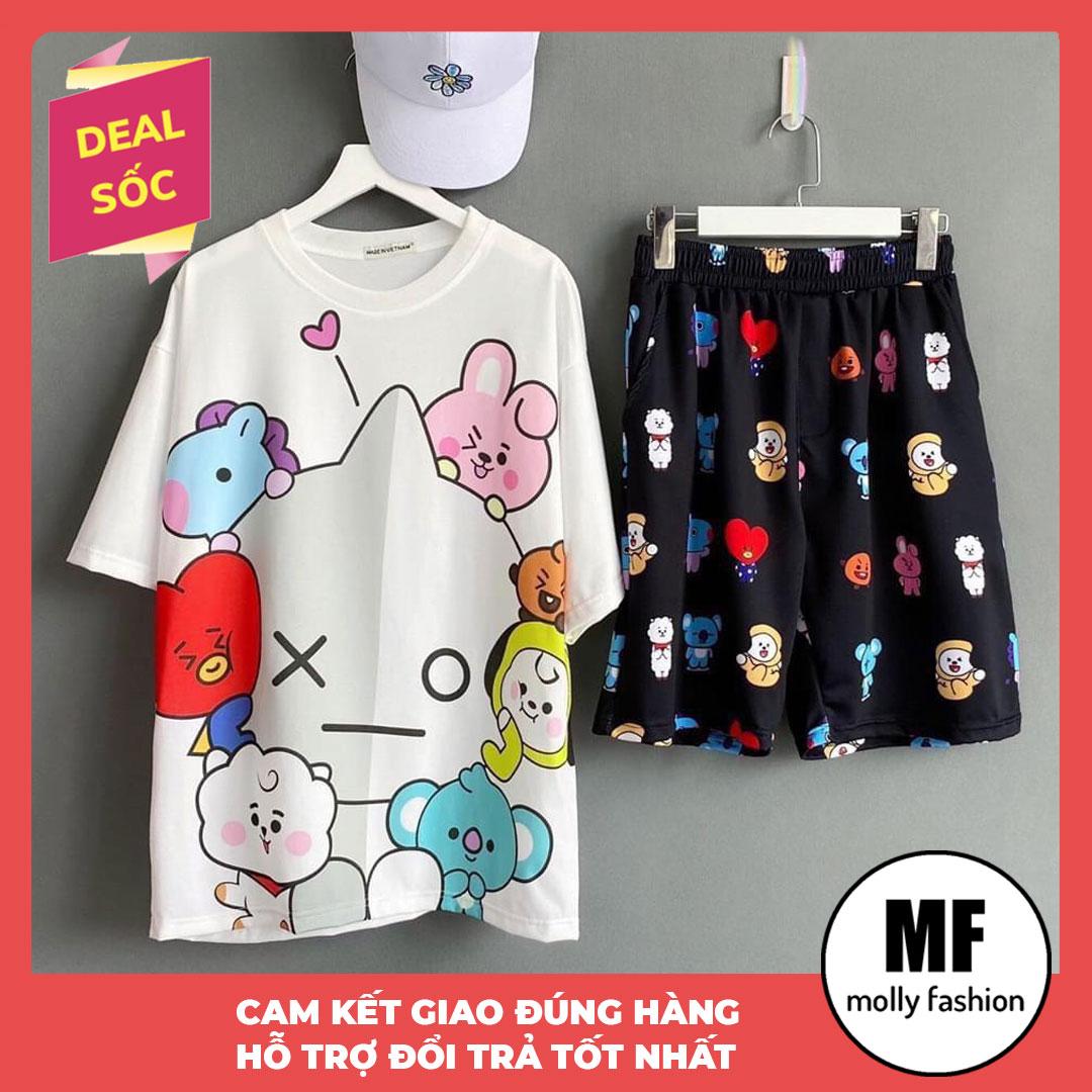 [HCM]Đồ bộ nữ hoạt hình BTS kiểu set đi chơi - mặc nhà form rộng Unisex Freesize nam nữ mặc được Molly Fashion (nhiều mẫu)