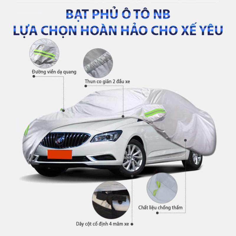 Bạt phủ xe hơi,áo trùm che phủ xe hơi, xe ô tô phủ nhôm bạc 4 chỗ đến 7 chỗ, lớp phản quang chống nóng, mưa, xước sơn, Polyester Oxford Fabric.