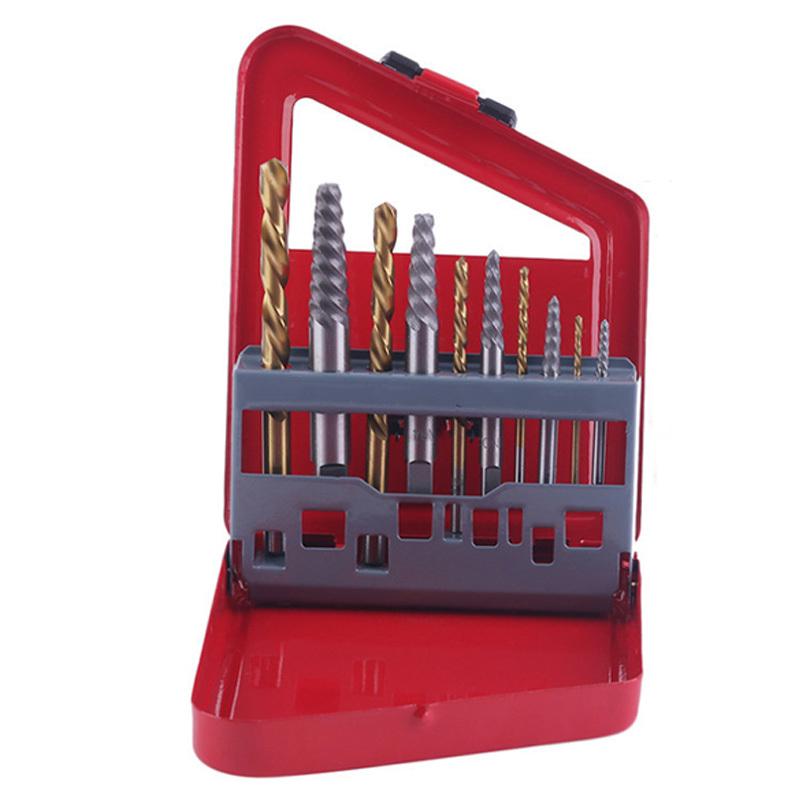 Screw Extractor and Left Hand Drill Bit Set Broken Bolt Remover, 10 Piece Alloy Extractors Drill Bits
