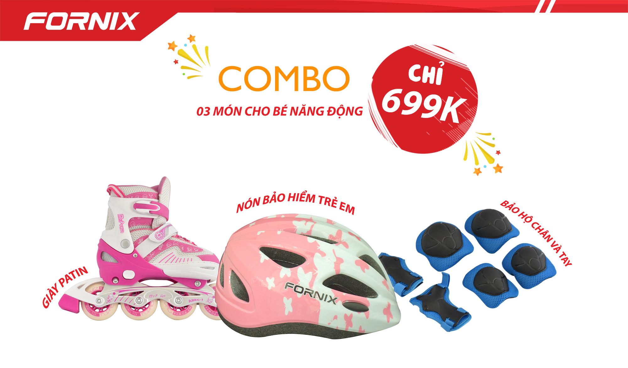 Giá bán COMBO THỂ THAO TRẺ EM - Nón bảo hiểm A03NM13S + Giày Patin + Đồ bảo hộ