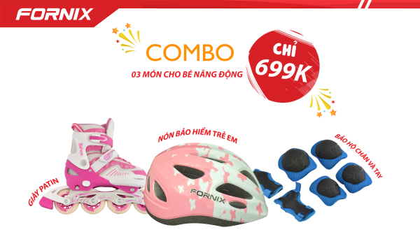 Mua COMBO THỂ THAO TRẺ EM - Nón bảo hiểm A03NM13S + Giày Patin + Đồ bảo hộ