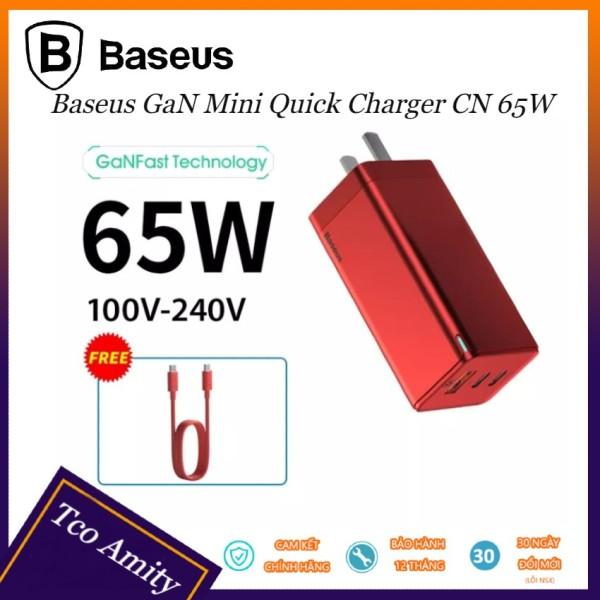 Bộ Sạc Nhanh Baseus GaN 65W C06 Tco Amity Hỗ Trợ QC 4.0, QC 3.0, PD 3.0 Cho iPhone 11, Macbook, SamSung...