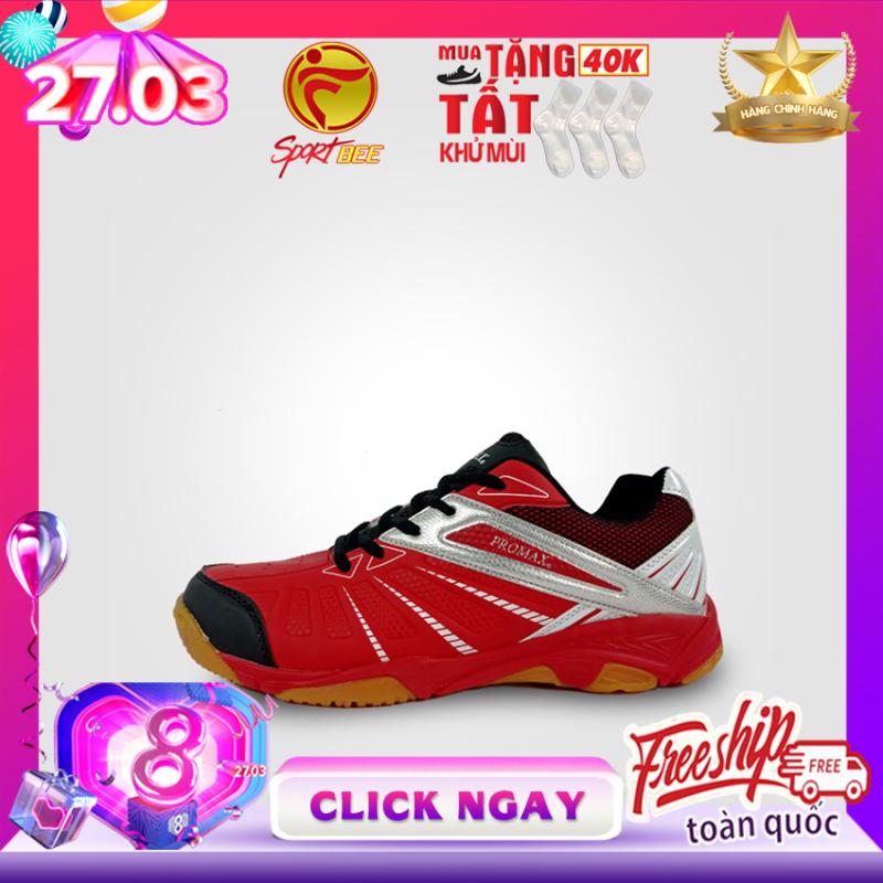 [SP ƯA CHUỘNG] Giày cầu lông nam nữ PROMAX 19001 Màu Đỏ đế kếp, giày bóng chuyền, bám sân, chống trơn promax mitre động lực bee sport, bee-sport, sport-bee, sport bee