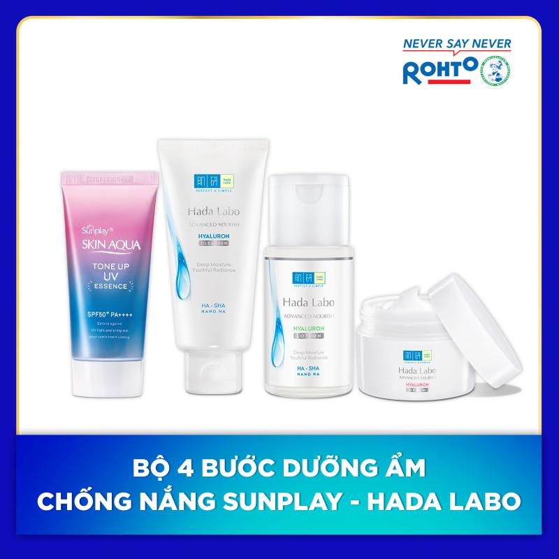 Bộ 4 bước dưỡng ẩm chống nắng Sunplay - Hada Labo (Chống nắng + Kem rửa mặt + Dung dịch dưỡng + Kem dưỡng) giá rẻ