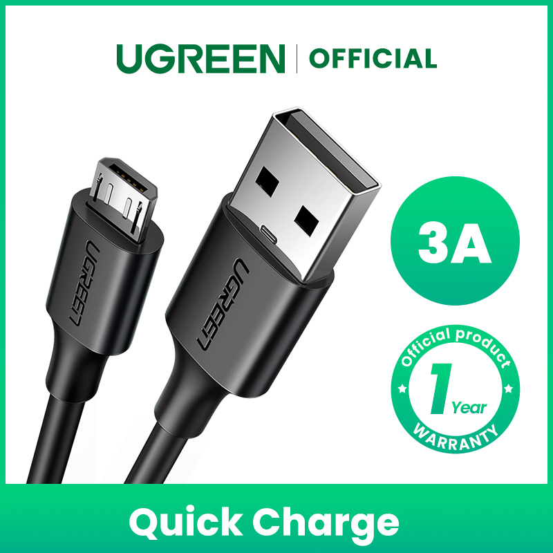 Cáp Sạc UGREEN Micro USB Sạc Nhanh QC3.0 Dành cho HUAWEI y7 prime 2019 OPPO a5s Samsung J7 pro