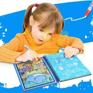 Sách tô màu tự xóa thần kỳ MAGIC WATER BOOK kèm bút dùng nước thumbnail