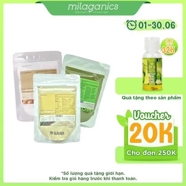 Combo 3 Gói Bột Trà Xanh, Cám Gạo Và Khoai Tây Thiên Nhiên MILAGANICS (100g/gói)