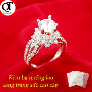 Nhẫn nữ Bạc Quang Thản, nhẫn bạc nữ ổ kết gắn đá kim cương nhân tạo 6ly chất liệu bạc thật không xi mạ có thể chỉnh size tay yêu cầu, phong cách trẻ trung thích hợp đeo tại các buối dạ tiệc, sinh nhật, làm quà tặng QTNU56 thumbnail