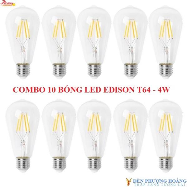 Bảng giá BÓNG EDISON ST64 ÁNH SÁNG VÀNG - COMBO 10 BÓNG LED