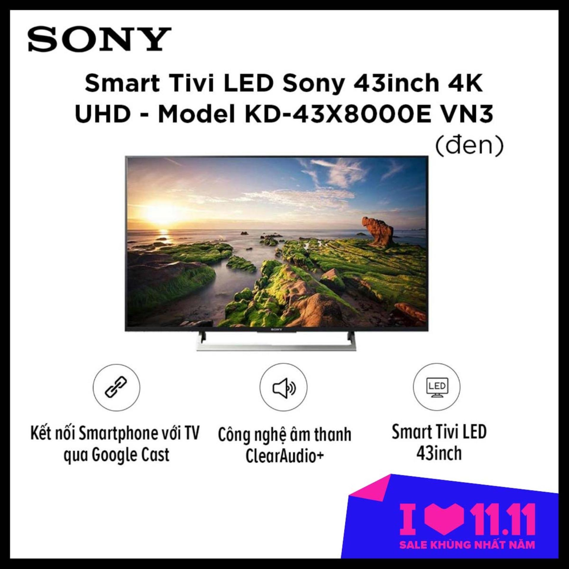 Bảng giá Smart Tivi LED Sony 43inch 4K UHD - Model KD-43X8000E VN3 (Đen)