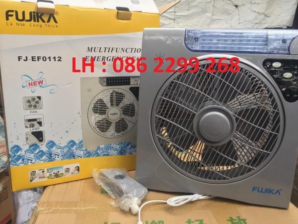 Quạt tích điện lớn FUJIKA FJ-EF0112 , Sử dụng 8 tiếng 1 lần sạc , Quạt tích điện tích hợp đèn chiếu sáng , Quạt mini sạc điện