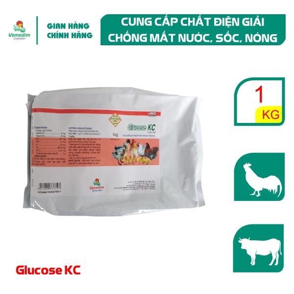 Vemedim Glucose KC Cung cấp điện giải, chống mất nước, chống stress nhiệt cho gia cầm, gói 1kg