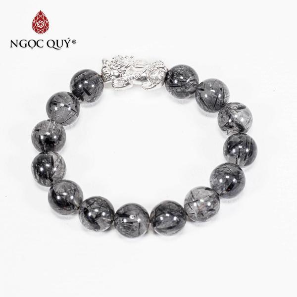 Vòng Tay Phong Thủy  Đá Thạch Anh Tóc Đen Phối Tỳ Hưu Bạc 12mm Mệnh Thủy , Mộc - Ngọc Quý Gemstones