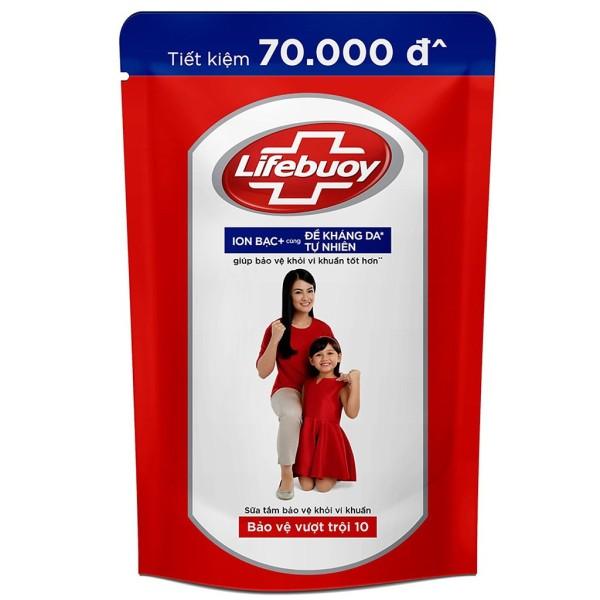 Sữa tắm Lifebuoy Bảo vệ vượt trội 10 (Đỏ) Túi 850ml