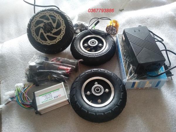 Mua Combo chế xe điện 3 bánh, xe lăn điện dùng động cơ 8 inch PHANH ĐĨA