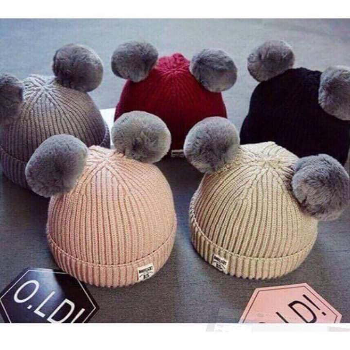 mũ len 2 quả cho bé gái
