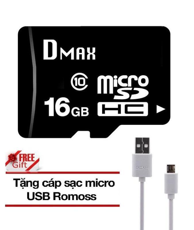Thẻ nhớ 16GB tốc độ cao UHS1 class 10, up to 90MB/s Dmax Micro SDHC class 10 - Bảo Hành 5 năm+ Tặng cáp micro tròn