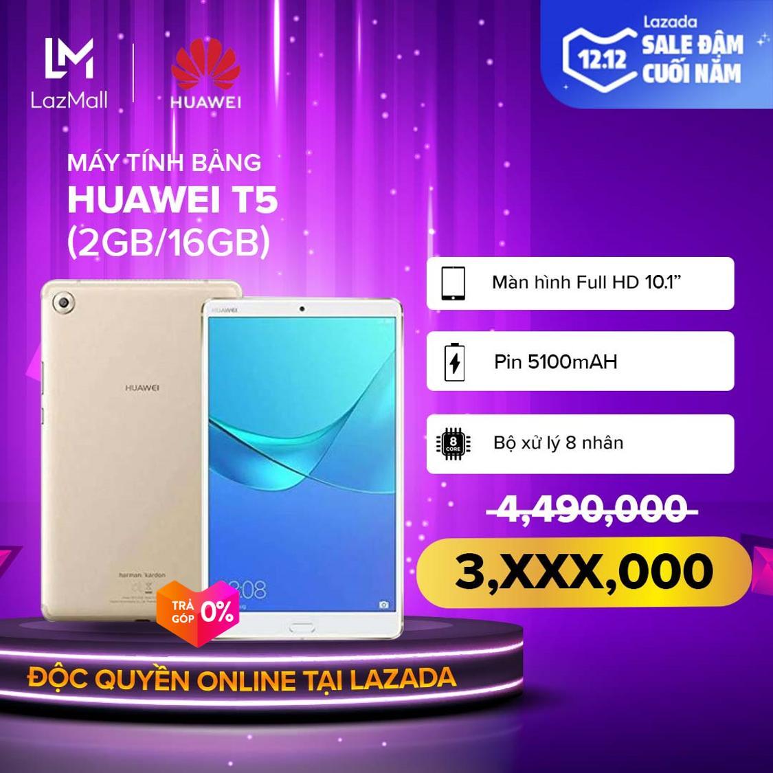 TRẢ GÓP 0%-BẢO HÀNH CHÍNH HÃNG|Máy Tính Bảng Huawei T5 (2GB/16GB) - Màn Hình 10.1'' Màn Hình FullHD 1080p Kirin 650 8 Nhân Pin Khủng 51000mAh Micro SIM -DỰ KIẾN GIAO HÀNG 12/12/2019 Giá Hot Siêu Giảm tại Lazada
