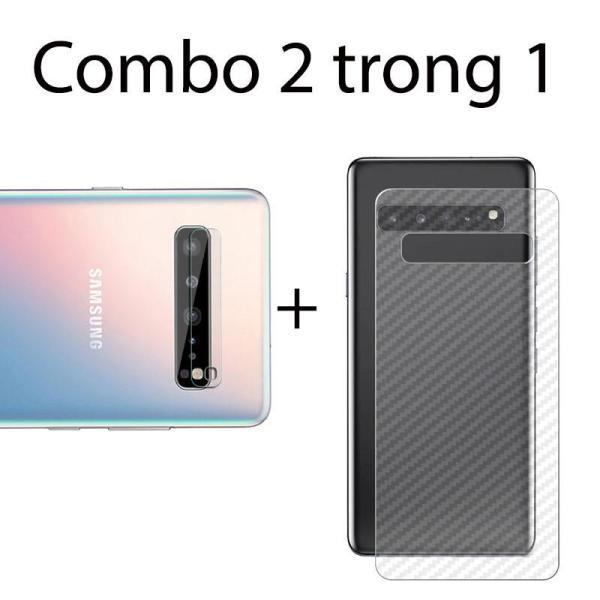 Combo 2 miếng dán camera Samsung S10 5G và 2 miếng decal vân carbon mặt sau