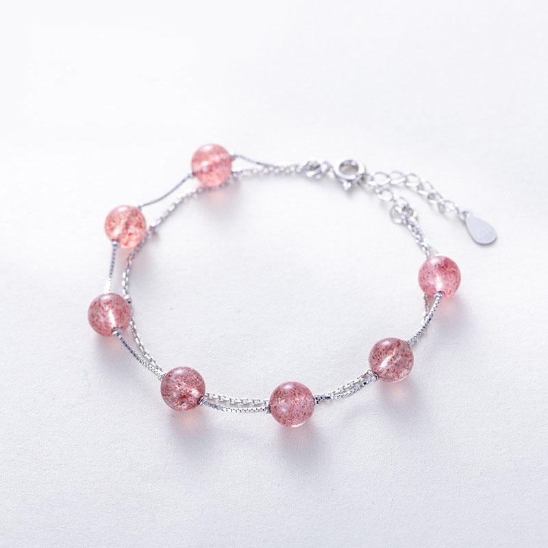 Lắc Tay Bạc S925 Thạch Dâu Tây Ưu Linh Tự Nhiên LTT10 Bảo Ngọc Jewelry