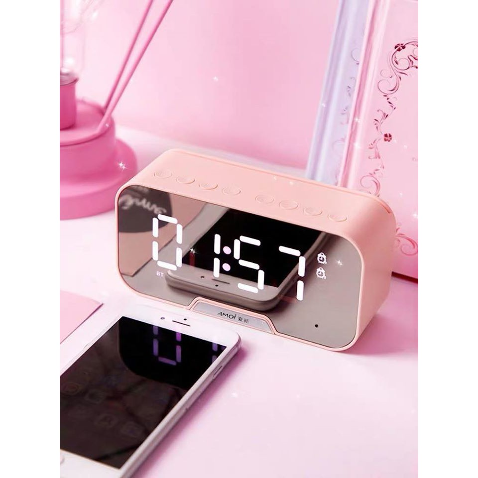 [Nhập ELAPR21 giảm 10% tối đa 200k đơn từ 99k]Loa bluetooth AMOI G5 nghe đài FM kiêm đồng hồ báo thức đèn ngủ màn hình soi gương