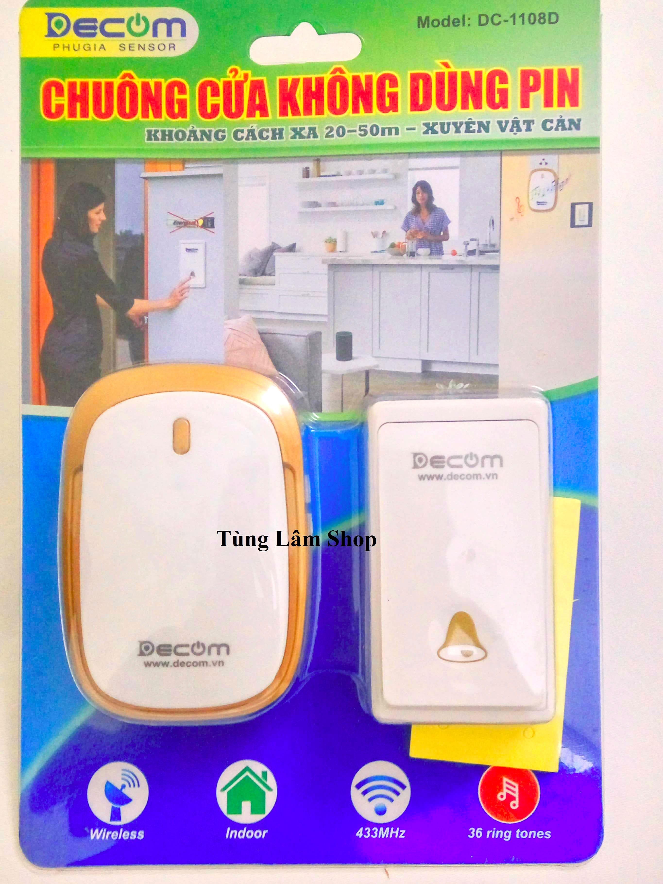 Chuông cửa không dây có nút nhấn chống nước và không dùng pin - Chuông cửa không dây Decom cao cấp